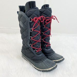 Sorel Black Out N About Tall Lace-up Snow Boots 8